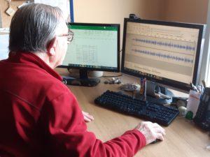 A sound technician using Audacity.